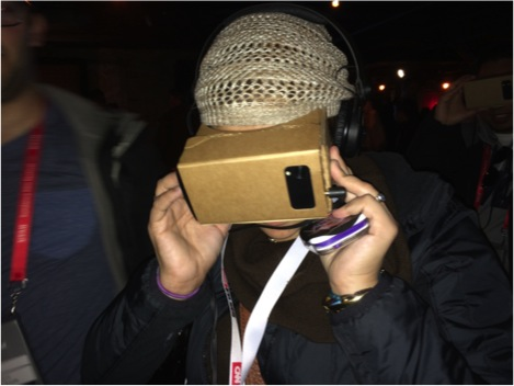 Everyone getting virtual with Google Cardboard at the New Frontiers exhibits